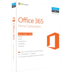 Microsoft Office 365 Home Subscription + Exclusive upgrades and new features - 5 User, 5 PC/Mac, 5 Tablet, 5 TB OneDrive Cloud Storage - 1 Year
