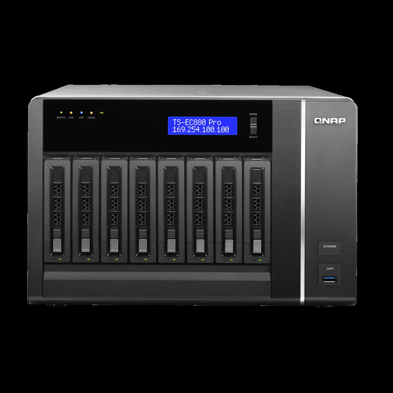 QNAP Turbo NAS TS-EC880 Pro 8 x Total Bays NAS Storage System - Tower